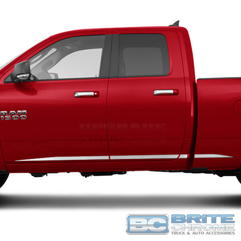For RAM 1500 QUAD CAB Painted Body Side Mouldings Moldings Trim 2009-2018