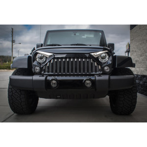 Polished Stainless Eyebrow Kit w/White LED for 07-18 Wrangler w/Gladiator Grille
