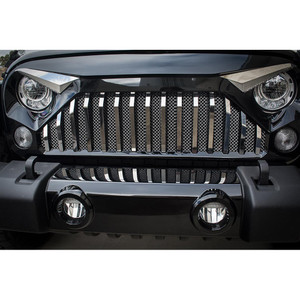 Stainless Front Lower Mesh Grille Overlay for 07-18 Wrangler w/Gladiator Grille