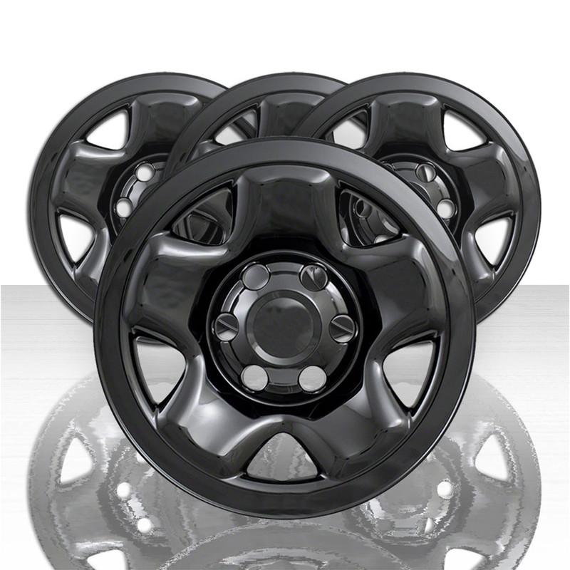 """Gloss Black Set of 4 16/"""" 5 Spoke Wheel Skins for 2011-2015 Chevy Cruze"""