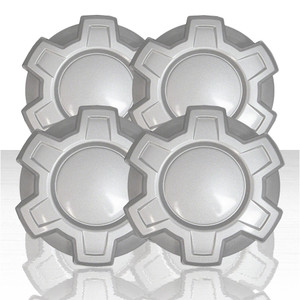 "Set of 4 7.41"" Center Caps for 2019-2020 Chevy Silverado 1500 New Model - Silver"