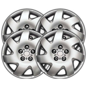 16 Inch Universal Clip-On Silver Metallic Hubcap Covers 13916-S-Hubcap-Covers