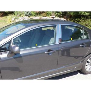 for 06-11 Honda Civic 6p Luxury FX Chrome Window Trim w//o Posts or Window Sill