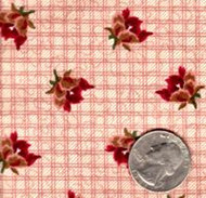 """Blue Hill Fabrics """"The Yorktown Collection Circa 1850"""" Red Plaid Floral"""