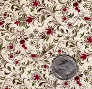 "Blue Hill Fabrics ""The Yorktown Collection Circa 1850"" Red Mini Floral"