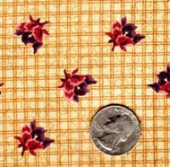 """Blue Hill Fabrics """"The Yorktown Collection Circa 1850"""" Brown Plaid Floral"""