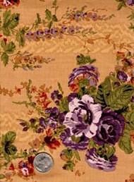 "Blue Hill Fabrics ""The Yorktown Collection Circa 1850"" Brown/Purple Floral"