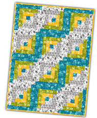 "Maywood Studios ""Gradiance Carribean"" Precut 12 Block Log Cabin Quilt Kit w/ FREE Backing"