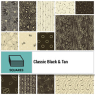 "P & B Textiles Classic Black & Tan 10"" Layer Cake"