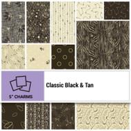 "P & B Textiles ""Classic Black & Tan"" 5"" Charms"