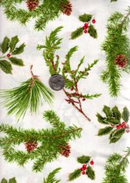 "David Textiles ""Four Seasons-Pinecone Berries"" Greenery on White"