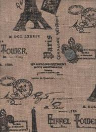 """Springs Industries """"Printed Burlap"""" Paris"""