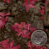 AAAQuilter's Supply Batik Brown/Red Leaf 037