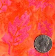 AAAQuilter's Supply Batik Orange/Pink Leaf 055