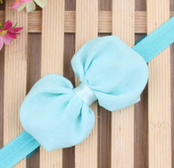 Light Blue Chiffon Bow Headband