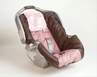 Pink Satin Infant Car Seat and Crib Hair Protector Set