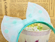 Teal Spotted Tulle Bow Headband