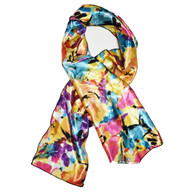 Water Color Edge Laying Rectangular Satin Scarf