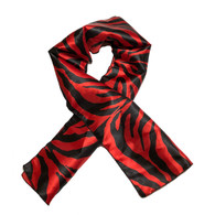 Red Bottom Edge Laying Rectangular Satin Scarf