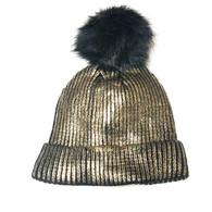 Black & Gold Shimmer Pom Knit Hat
