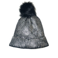 Black & Silver Shimmer Pom Knit Hat
