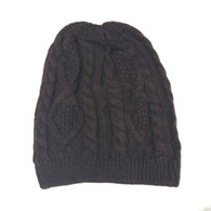 Brown Kids Cable Knit Hat