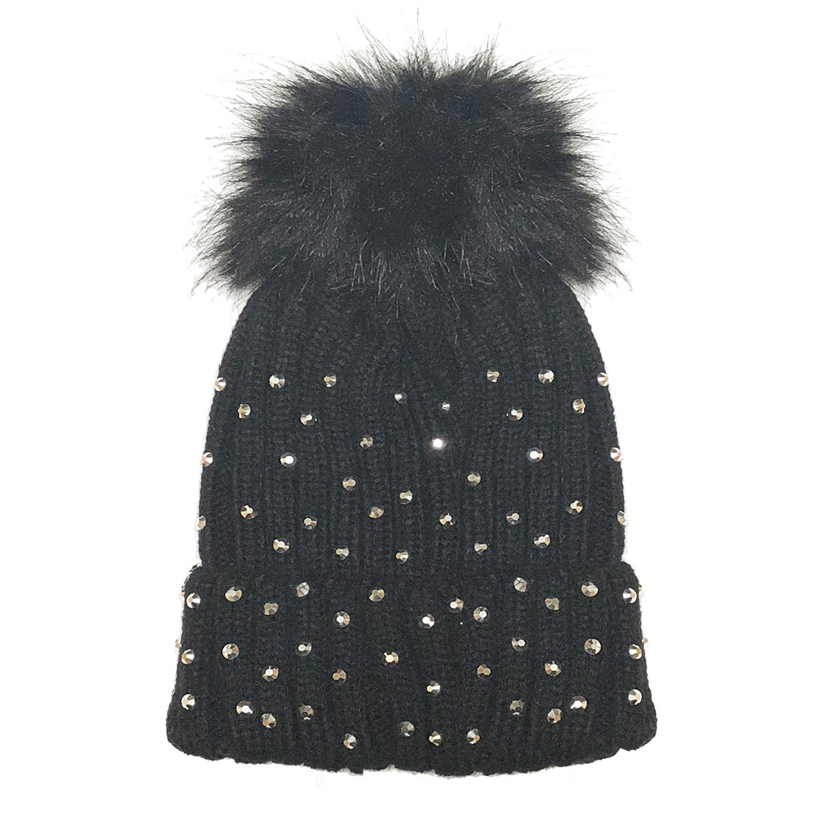 Black Rhinestone Newborn and Infant Hat - The Natural Hair Shop 4f404ea1d67