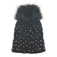 Black Rhinestone Newborn and Infant Hat