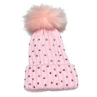Pink Rhinestone Newborn and Infant Hat