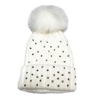 Cream Rhinestone Newborn and Infant Hat