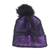 Purple Shimmer Pom Knit Hat