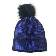 Navy Blue Shimmer Pom Knit Hat