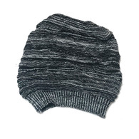 Black and grey striped slouchy knit hat