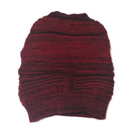 Red and black striped slouchy knit hat