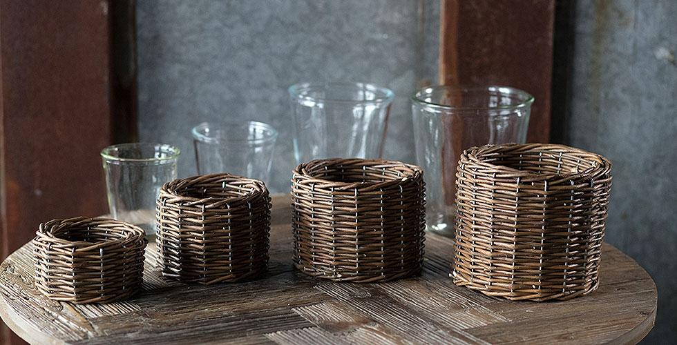 Wicker Base Glass Vases