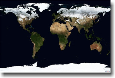 Satellite view of Earth from space Globe map poster
