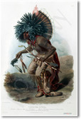 Moenitarri Native American Warrior in the Costume of the Dog Dance - 1840 - NEW Classroom Social Studies Poster
