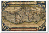 Ortelius World Map 1570 - NEW Classroom Social Studies Poster