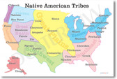 Native American Tribes Map - American History Poster