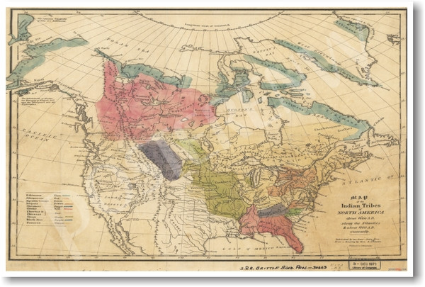 Vintage Map Of Native American Tribes Poster Posterenvycom - Map-of-us-native-american-tribes