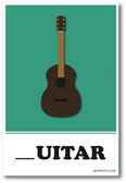 Guitar Missing Letter Exercise - NEW Classroom Educational POSTER