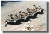 China - Man standing in front of tanks