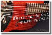 Where Words Fail Music Speaks - Resonator 2 - NEW Music Poster