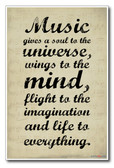 Music Gives a Soul to the Universe, Wings to the Mind, Flight to the Imagination, and Life to Everything - NEW Music Classroom Motivational PosterEnvy Poster