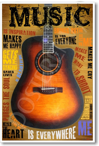 Acoustic Guitar Music PosterEnvy Inspiritional Motivational Poster