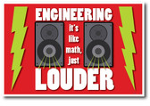 Lightning Bolts & Speakers - Engineering It's Like Math Just Louder - Funny Poster