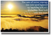 Sun over mountain clouds - Solar Energy Oil Companies Ralph Nader Ecology Poster