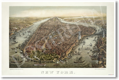 1873 - Birds Eye View of New York