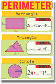 NEW MATH Educational Geometry Classroom POSTER - Perimeter