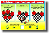 Subtraction - FIND an Unknown 5 - 2 = NEW Elementary School Classroom Math POSTER